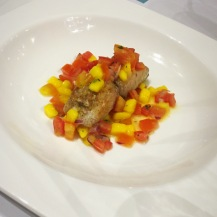 Pan-seared Fillet of Fish with Fresh Mangoes and Vegetable Salsa