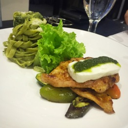 Spiced Grilled Chicken on grilled capsicum, aubergines and zucchini topped with white cheese in pesto sauce + Spinach Fettuccine